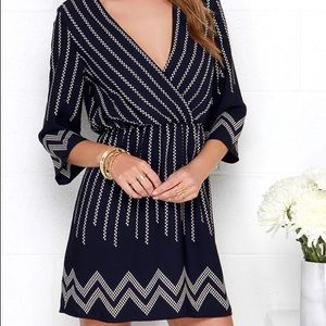Lulus Navy Blue Print Dress